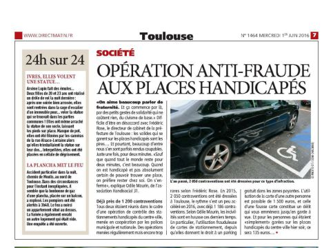 Article de Direct Matin Toulouse : opération anti fraude aux places handicapés